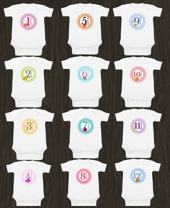 12 Month Milestones Baby Rompers - First Birthday Gift baby boy girl