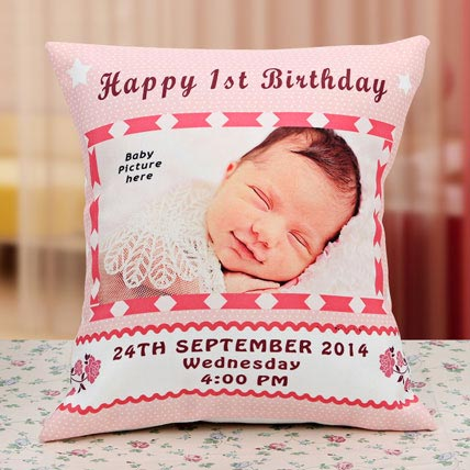 Customized Photo Printed Cushions, 1st Birthday Personalized Pillows