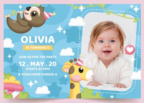 Personalized Birthday Invitation Card - Printable Birthday Party Invitations